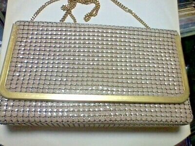GLOMESH BAG 1970's COMPLETELY ORIGINAL CLUTCH GOLD AND LIGHT BROWN - EXCELLENT