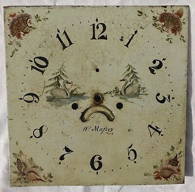 Square Long Case Grandfather Clock Dial Swans William Massey Nantwich