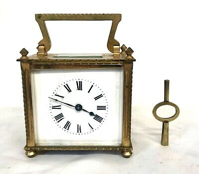 French Antique Rare Square Dial Brass Carriage Clock Duverdry & Bloquel