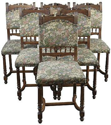 Dining Chairs Henry Ii Renaissance French 1920 Set 6 Floral Upholstery Wa