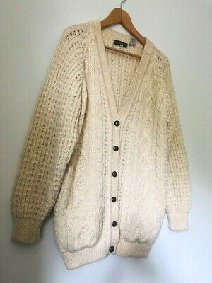 2147a77aa7e226 Ladies Burberry London Cable Knit Cardigan Oversized Chunky Cream Wool Size  L