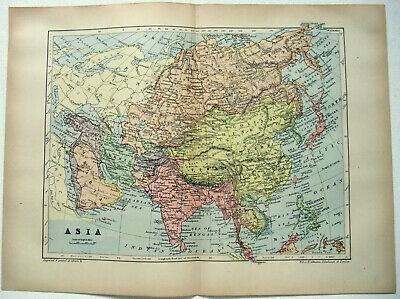 Original 1895 Map of Asia by W & A.K. Johnston. Antique