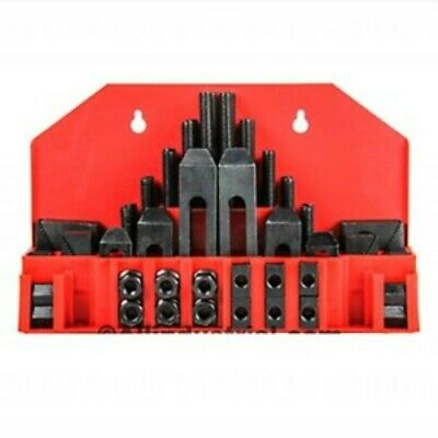 "58pc Steel Step-Block & Clamp Kit with 1"" Step Block 1/2"" T-Slot 3/8""-16 Stud"