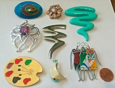 f89b40ed7 BIG LOT VINTAGE Jewelry Pins Brooches Artsy Abstract & More Estate ...