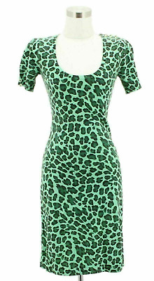 A15 BETSEY JOHNSON Designer Dress Size Small 4 6 Green Leopard Bodycon