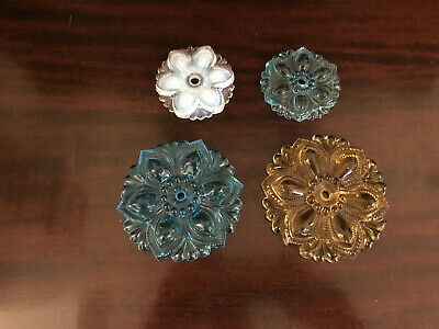 LOT OF 4 ANTIQUE CURTAIN TIE BACKS SANDWICH GLASS VICTORIAN    ss