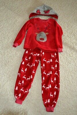 Girls PJ's with Reindeer in Red with detachable hood Age 11 - Matalan