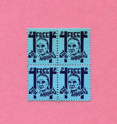 1920s - 30s  Four  Free Tom Mooney Stamps  Socialist IWW Anarchist Bombing Peace