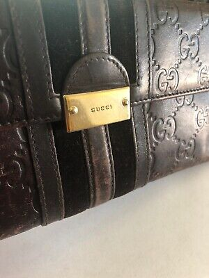 2aac044d35d6 GUCCI WALLET BROWN Leather Canvas Mens Bifold 451268 K551N 8666 ...