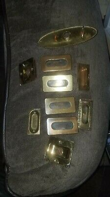 Lot Antique Vintage Heavy Brass Window Sash Pulls Finger Lift Handle Plates