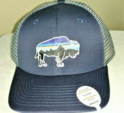 9c3e1c5b672f2 Patagonia Fitz Roy Bison Trucker Hat - NEW WITH TAGS - Navy Blue
