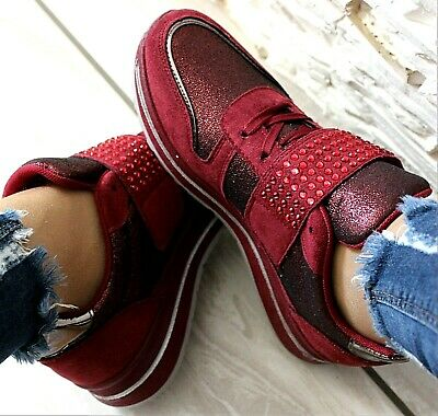 LADIES RED WINE CRYSTAL EMBELLISHED SNEAKERS LACE UP PLATFORM TRAINERS SIZES 3-8