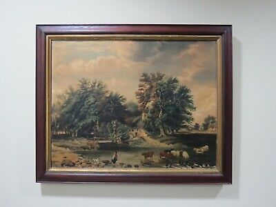 Antique Farm Landscape with Trees, Cows & Cottage Oil on Canvas Painting