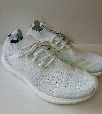 low priced 8aa29 707ed Adidas Ultra Boost Uncaged Parley Mens 10 White Grey PrimeKnit Sneakers EUC