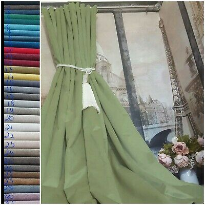 Cotton Velvet Heavy Lined Hand Made To Order Measure Green Curtains Huge Window