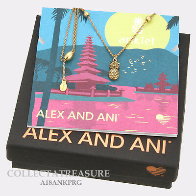 Authentic Alex and Pineapple Rafaelian Gold Adjustable Charm ANKLET