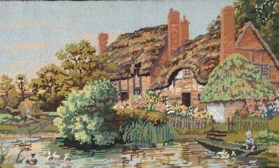 Vintage Quiet Corner Thatched Cottage completed Tapestry Kinetic Needlecraft