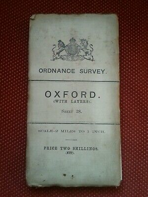 Antique Ordnance Survey OS Cloth Map OXFORD 1910 Sheet 28 Thames Chipping Norton