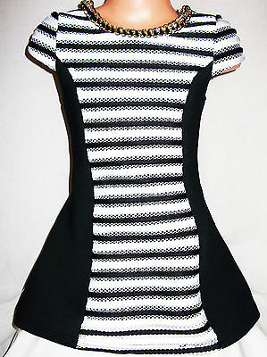 GIRLS 60s STYLE BLACK WHITE STRIPE LACE CONTRAST GOLD NECKLACE TRIM PARTY DRESS