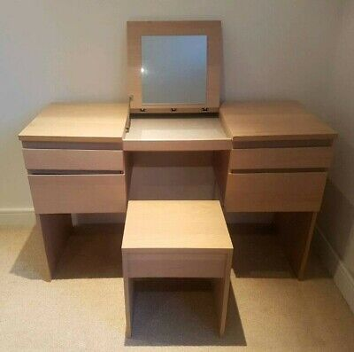 Ikea Dressing Table With Fold Down Mirror Light Oak 4 Pull