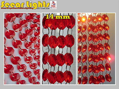 Red Wedding Beads Chandelier Droplets Crystals 14Mm Glass Drops Garland Vintage