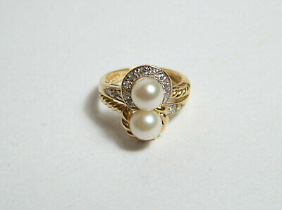 Two Pearl & 13 Tiny Diamonds 14K Yellow Gold Ring size 4 1/2 vintage