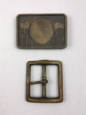 Lot of 2 Vintage Brass Belt Buckles Cowboy
