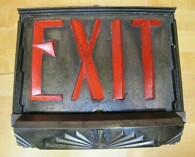 Art Deco EXIT Lighted Sign Cast Iron Embossed Skyscraper Ornate Theater RHTF