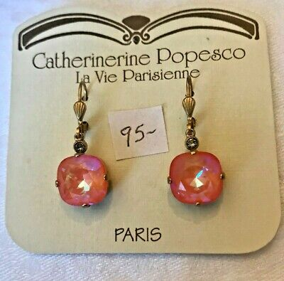 35eaa4e65 LA VIE PARISIENNE by Catherine Popesco White Enamel Earrings Trimed ...