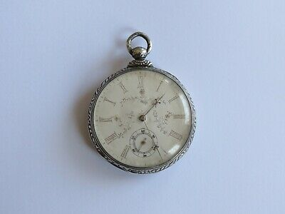 Rare Antique 1800's Key Wind / Set Sterling Silver Pocket Watch, 13 Ruby Jewels