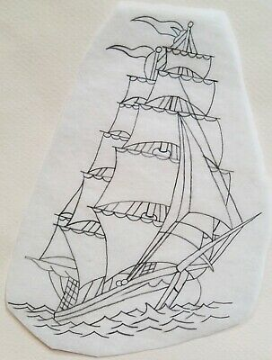 vintage unknown tattoo stencil tracing drawing for flash clipper ship navy, shaw