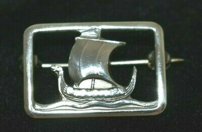 Vintage Carl Ove Frydensberg COF Sterling Denmark Framed Viking Ship Brooch