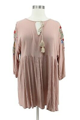 555003d87e55 Boohoo Tan Floral Embroidered Long Sleeve Boho Baby Doll Dress Plus Size 20