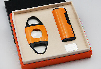 JiFENG New arrival yellow color giftset with Cigar Cutter lighter W/GIFT BOX