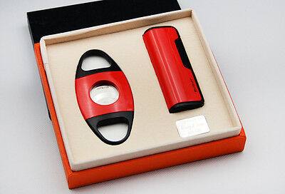 JiFENG New style red color giftset with Cigar Cutter lighter W/GIFT BOX