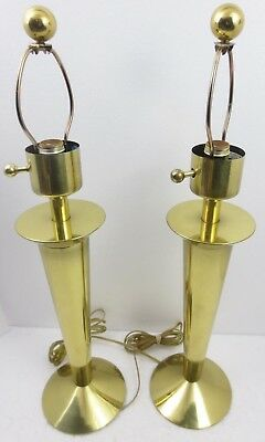 Pair STIFFEL Solid Brass Lamps Art Deco Mid Century Modern Olympic torch design