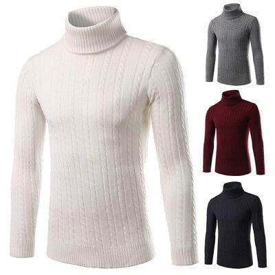 Mens Winter Thick Warm Sweaters Turtleneck T-Shirt Pullover Knitwear