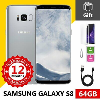 SAMSUNG GALAXY S8 - 64GB - Arctic Silver  - GSM Unlocked 4G LTE Mobile Phone A++