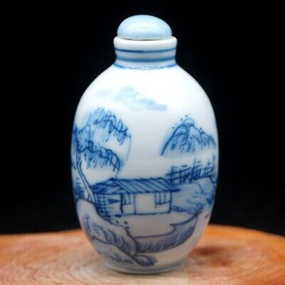 Chinese Collectible Blue And White Porcelain Ancient landscape Snuff Bottle 6