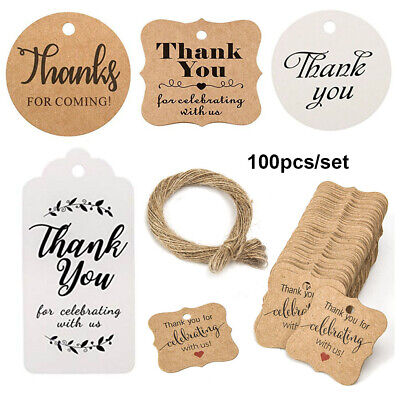 "100pcs Kraft Paper Hang Tags Wedding Party Favor ""thank you"" Gardening Labels"