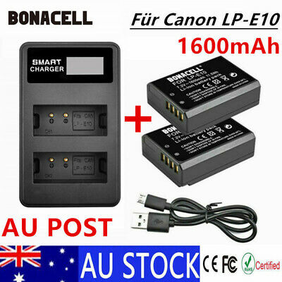 2x LP-E10 1600mAh Battery+Dual Charger For Canon EOS 1300D 1200D 1100D Camera PE