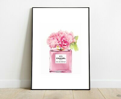 Chanel Pink Perfume Bottle Prints A4 Flowers Art Dressing Room Prints
