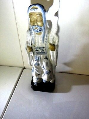 """Vintage Blue and White Asian Man Chinese Porcelain Figurine 16"""" Signed"""