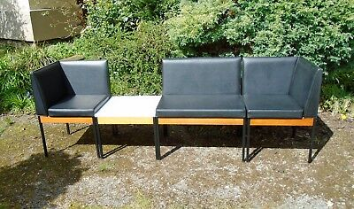 Vintage 1960's 1970's Teak & Black Vinyl Modular Reception Chairs Table Set