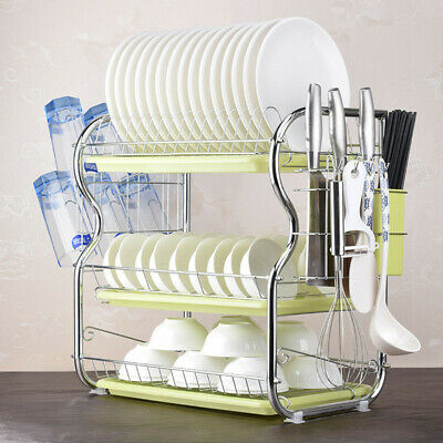 Large Capacity 3 Tier Dish Drainer Drying Rack Kitchen Storage Stainless Steel