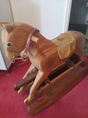 Rocking Horse Solid Wood Rocking Horse Kids Toys Antique Toys Collectors...
