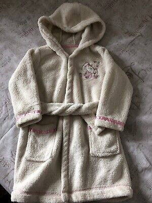Baby Girls 12-18 Months Lovely Pink Rabbit Fluffy Hooded Dressing Gown