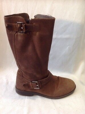 Girls Zara Brown Leather Boots Size 33