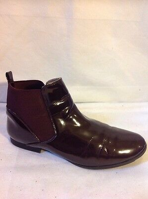 Zara Girls Maroon Ankle Leather Boots Size 37