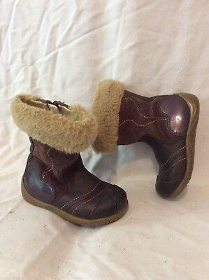 Girls Clarks Brown Leather Boots Size 4.5F